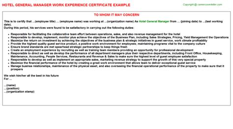 hotel general manager work experience letter