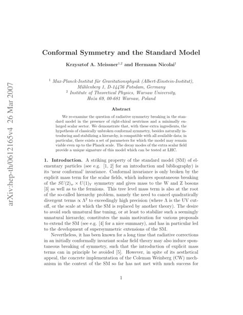 (PDF) Conformal symmetry and the Standard Model