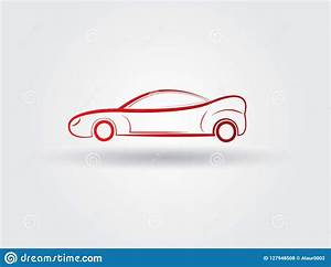 A Simple Sports Red Car Logo With Shadow On White ...