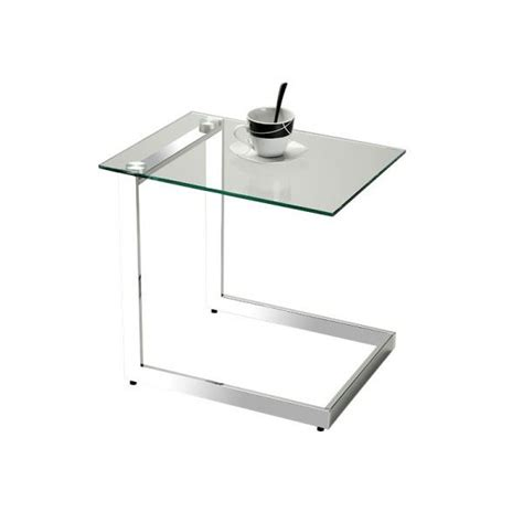 table bout de canapé en verre table d 39 appoint en verre lleida transparent achat