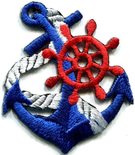 applique retro anchor navy biker retro ship boat sea sew applique