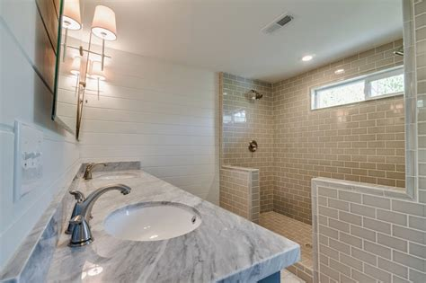 shower transitional bathroom white gold design