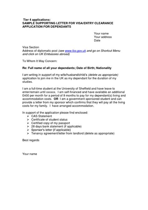 cover letter template visa application  cover letter