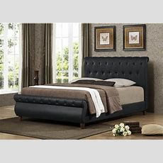Ashenhurst Black Modern Sleigh Bed With Upholstered