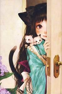 Anime, Flower, Girl, Artwork, Beautiful, Long, Hair, Animal, Cats, Cute, Wallpapers, Hd, Desktop