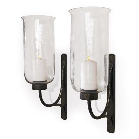 candlestick sconce pescara contemporary rustic iron and glass candle sconces