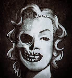 Marilyn Monroe Half Skull Face Drawing