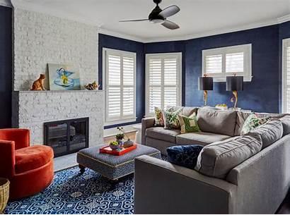 Grey Navy Living Rooms Decorating Walls Inspire