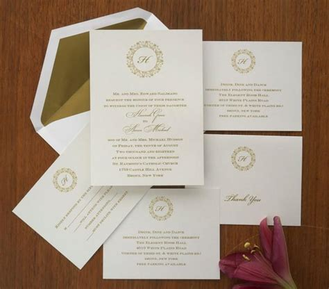 Single Initial Wedding Invitation Set Thermography