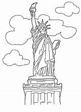 Liberty Statue Coloring Printable Drawing sketch template