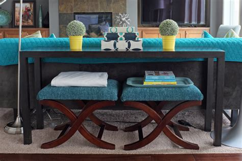 sofa table and stools semi diy x bench of decorating by jackie hernandez