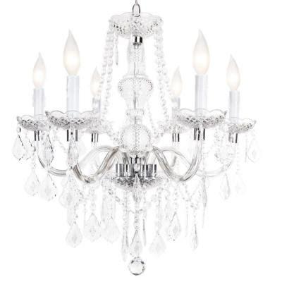 hton bay theresa 6 light chrome chandelier