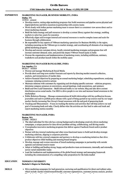 marketing manager india resume sles velvet