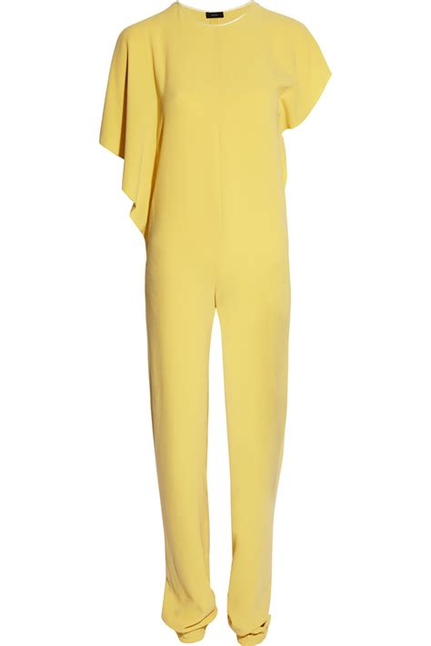 womens yellow jumpsuit joseph cubas stretch crepe jumpsuit in yellow gold lyst