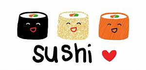 Drawn sushi sushi roll - Pencil and in color drawn sushi ...