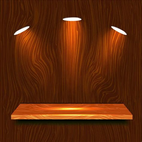 realistic wooden shelf  lights vector