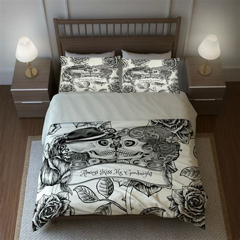 skull bedding sugar skulls duvet cover comforter set cream