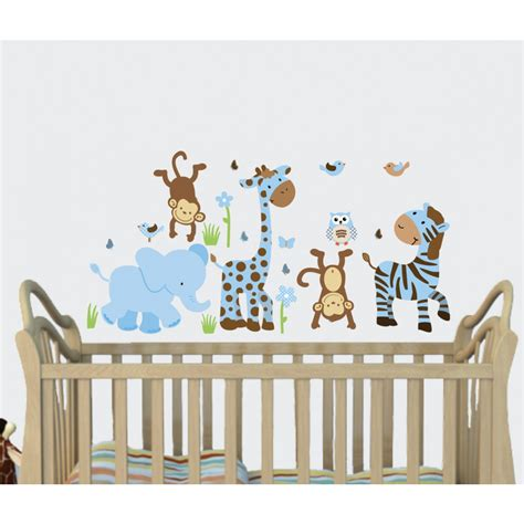 blue brown jungle murals for rooms with giraffe