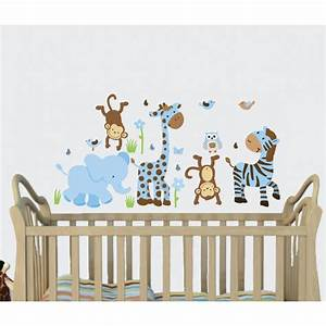 Blue brown jungle murals for kids rooms with giraffe for Nice safari wall decals for nursery