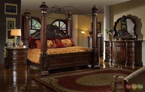 Traditional King Poster Canopy Leather Bed 4 Piece Bedroom