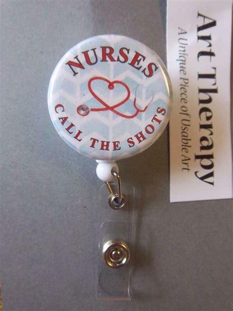 nurses call  shots blue chevron  red lettering