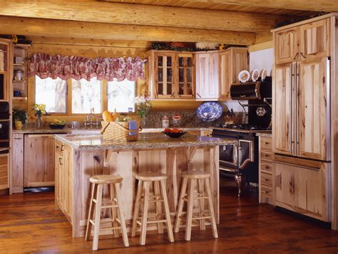 cuisine antique cabin kitchens log style
