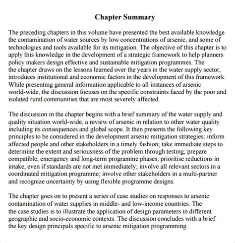 How To Make A Summary Of A Book by Sle Chapter Summary 5 Documents In Pdf Word