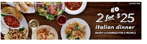 olive garden 2 for 25 olive garden two 3 course meals for just 25