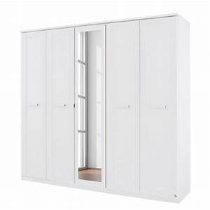 Armoire 5 Portes Blanc Avec Miroir Kurik LesTendancesfr