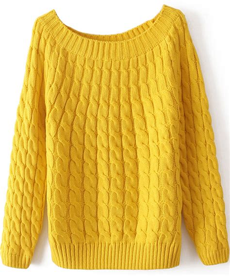 yellow cable knit sweater yellow sleeve cable knit sweater shein sheinside