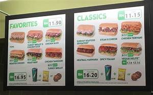 SUBWAY Menu (including prices) in Miri City, Bintang ...