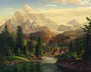 Indian Village Trapper Western Mountain Landscape Oil ...