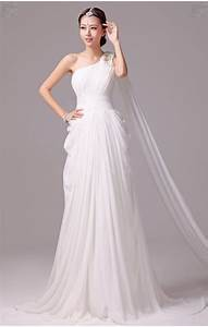 elegant greek goddess chiffon beaded one shoulder wedding With greek style wedding dresses