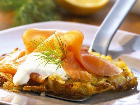 Kartoffelrösti Mit Geräucherten Lachs Und Meerrettichsoße
