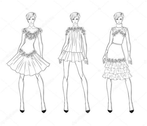 Siluetas para trabajar e a asignatura de artes, en 1 º básico. Silueta de una niña para vestir | Conjunto de moda de ropa ...