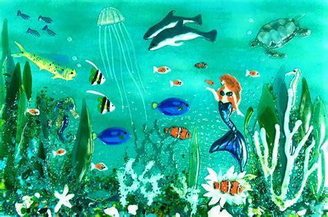 Underwater Scene with Mermaid   Designer Glass Mosaics