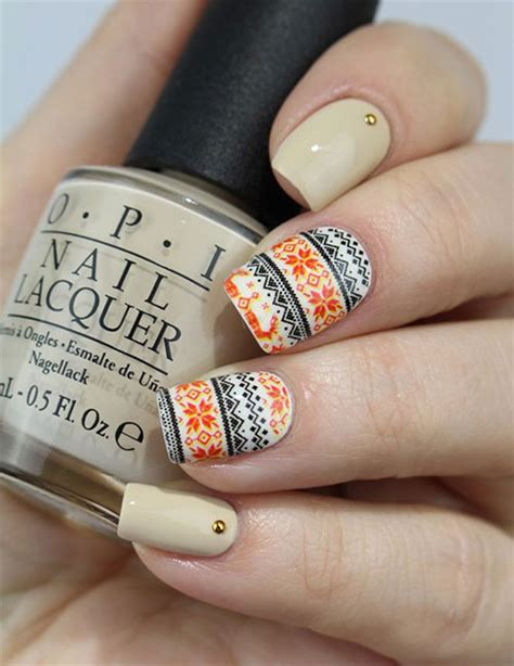 ugly christmas sweater nail art designs ideas