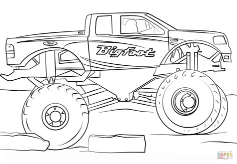 Bigfoot Monster Truck Coloring Page Free Printable