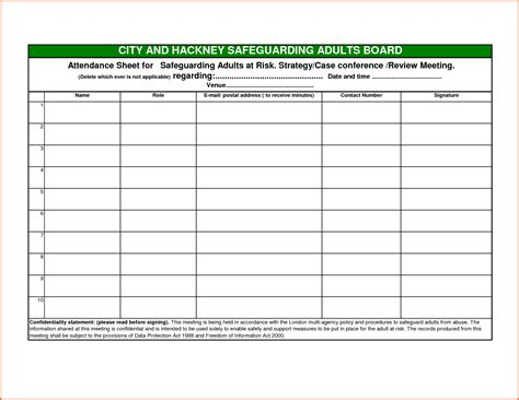blank attendance sheet survey template words