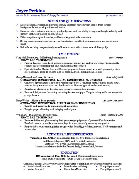 resume college student project scope template