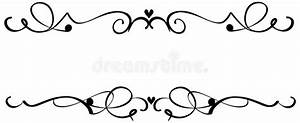 Scroll Heart Ornaments stock vector Illustration of line