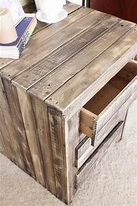 DIY Pallet Nightstand / Side Table with Drawers Pallet