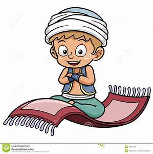 Boy Sitting On Flying Carpet Stock Vector - Illustration ...