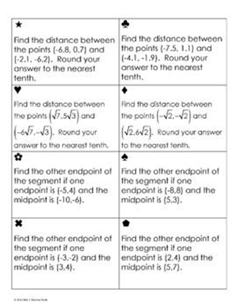 printables activity worksheet distance and midpoint