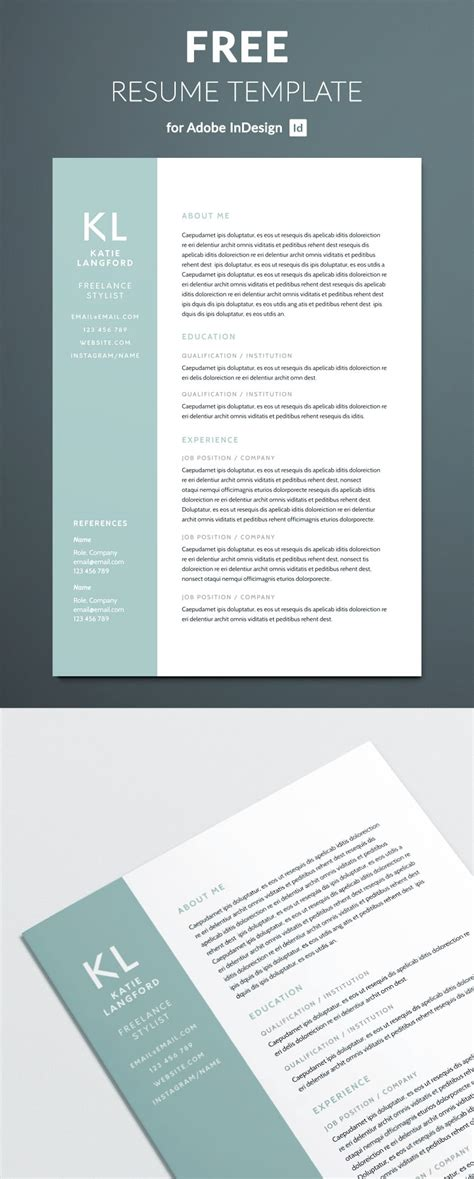 Indesign Resume Template modern resume template for indesign free