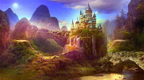 wallpaper castle paradise hills mountains landscape