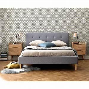Bett 160x200 Holz : bett aus holz und stoff grau 160x200 brent maisons du monde ~ Watch28wear.com Haus und Dekorationen