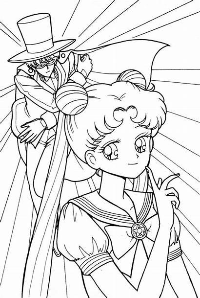 Coloring Pages Sailor Moon Tuxedo Usagi Kamen