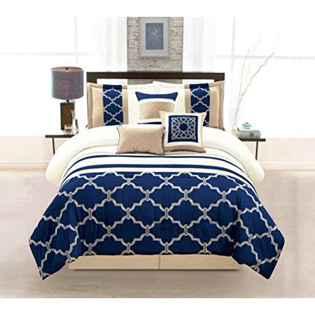 Ivory Bed Bag Luxury 7 Wpm 7 Pieces Complete Bedding Ensemble Navy Blue Taupe Ivory Beige Royal Print Luxury Embroidery