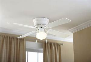 Mainstays, 42, U0026quot, Hugger, Metal, Indoor, Ceiling, Fan, With, Single, Light, White, 4, Blades, Led, Bulb